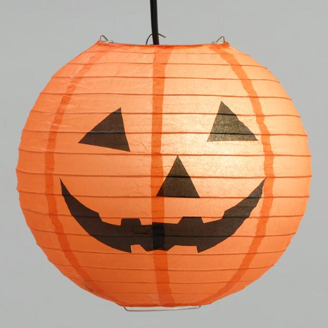 Black and Orange Halloween Pumpkin Collapsible Paper Lantern