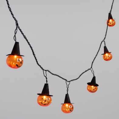 Vintage Pumpkins with Witch Hats 10 Bulb String Lights