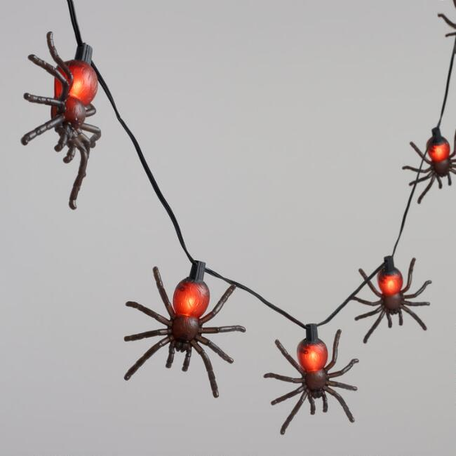 black tarantula spiders 10 bulb flickering string lights