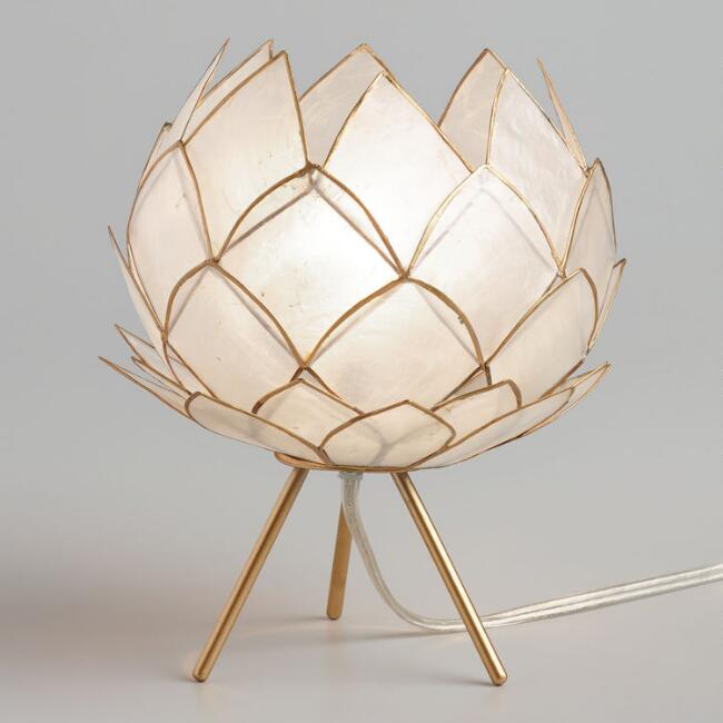White Capiz Lotus Flower Accent Lamp with Gold Tripod Stand