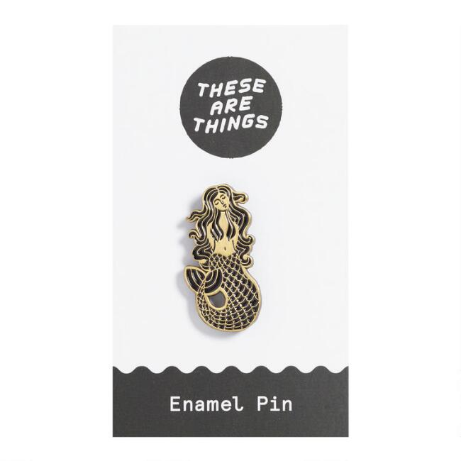 Black And Gold Mermaid Enamel Pin