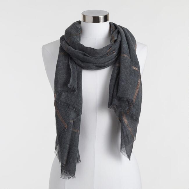 Oversized Metallic Rose Gold And Gray Plaid Scarf