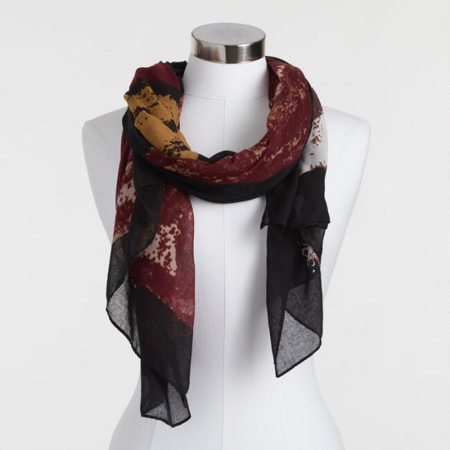 Oversized Brick Red And Mustard Abstract Scarf