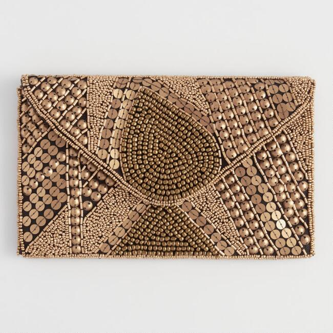Black And Gold Art Deco Beaded Clutch