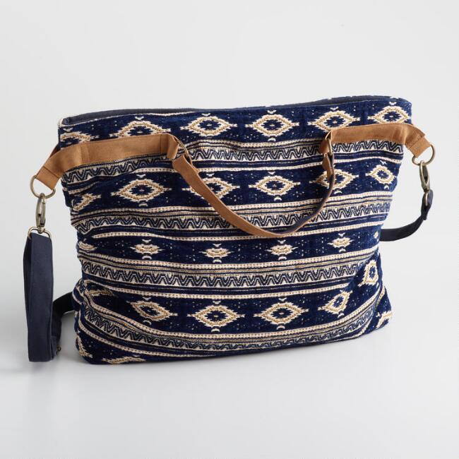 Navy And Tan Jacquard Velvet Weekender Bag
