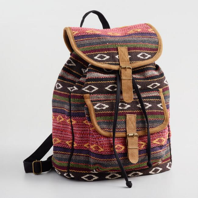 Multicolor Jacquard Carpet Backpack with Suede Trim