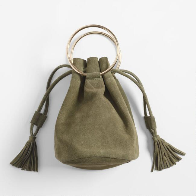 Tan Suede Antiqued Rings Bucket Bag