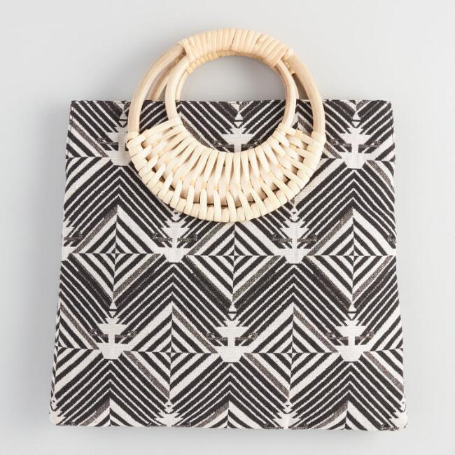 Black And White Jacquard Tote Bag with Cane Handle