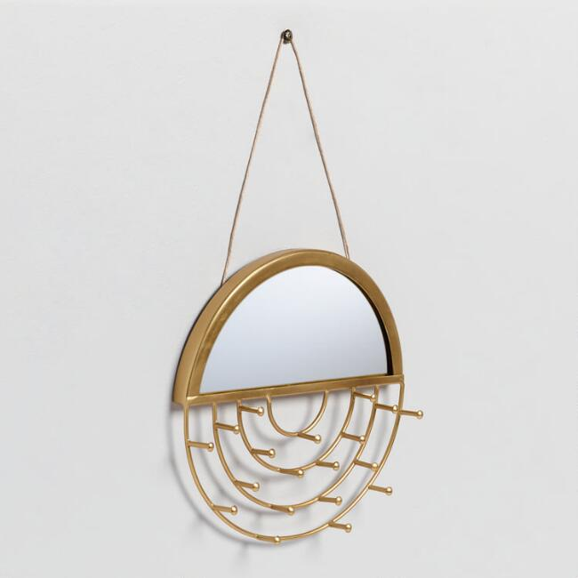 Round Gold Wall Jewelry Holder with Mirror