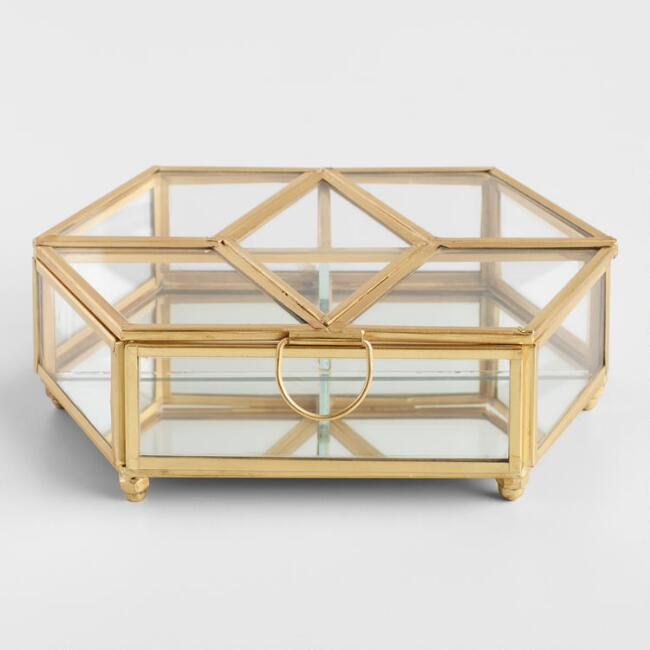 Gold Pane Glass Jewelry Box