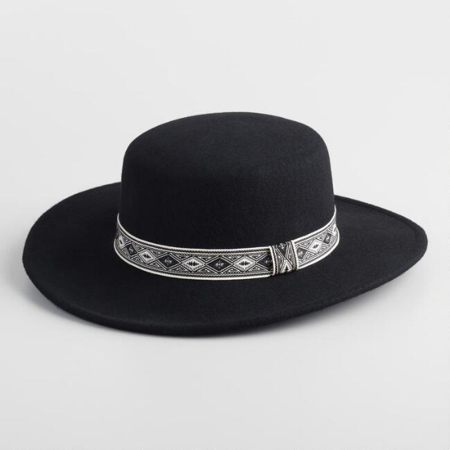 Black Wool Boater Hat with Jacquard Trim