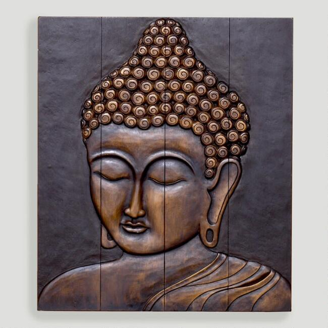 Wood Buddha Face Wall Decor