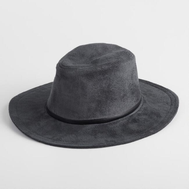 Charcoal Faux Suede Rancher Hat