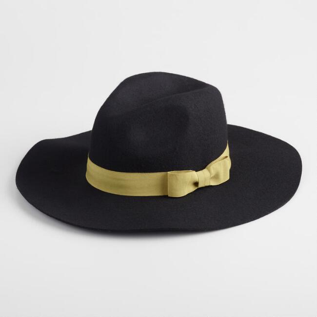 Black Wool And Olive Trim Rancher Hat