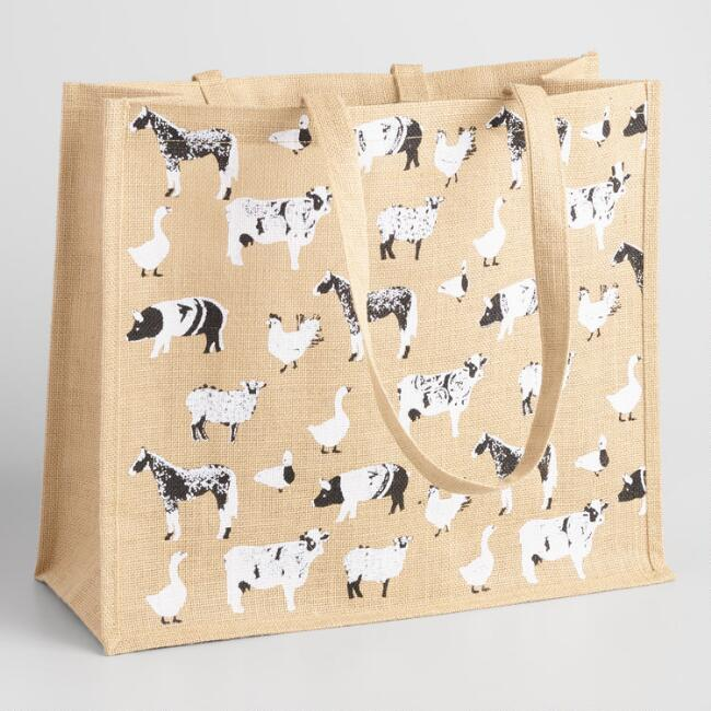 Black And White Farm Animals Jute Tote Bag