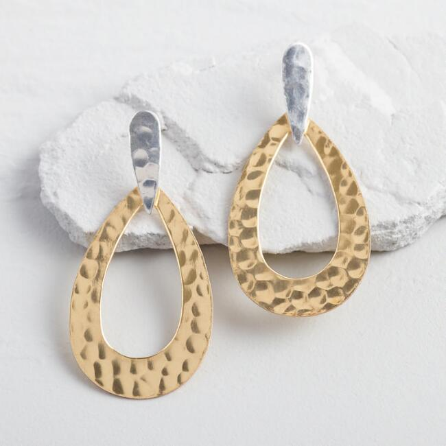 Gold And Silver Hammered Teardrop Earrings