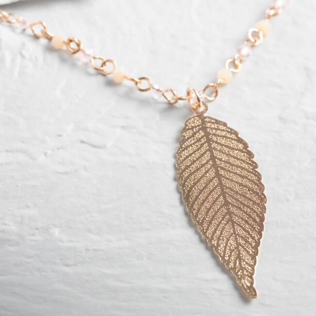 Small Gold Beaded Filigree Leaf Necklace