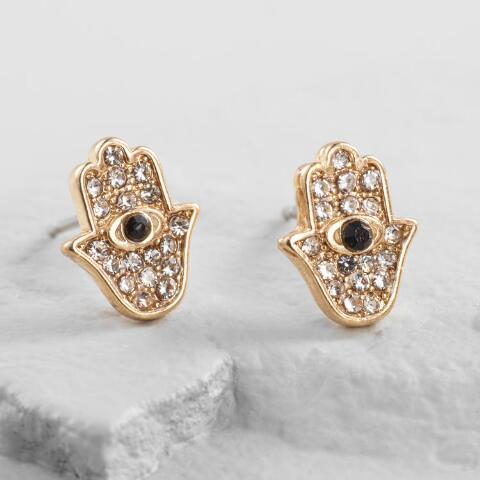a6ba516cddc1cf Small Gold Rhinestone Hamsa Hand Stud Earrings | World Market