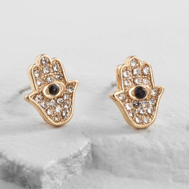 Small Gold Rhinestone Hamsa Hand Stud Earrings