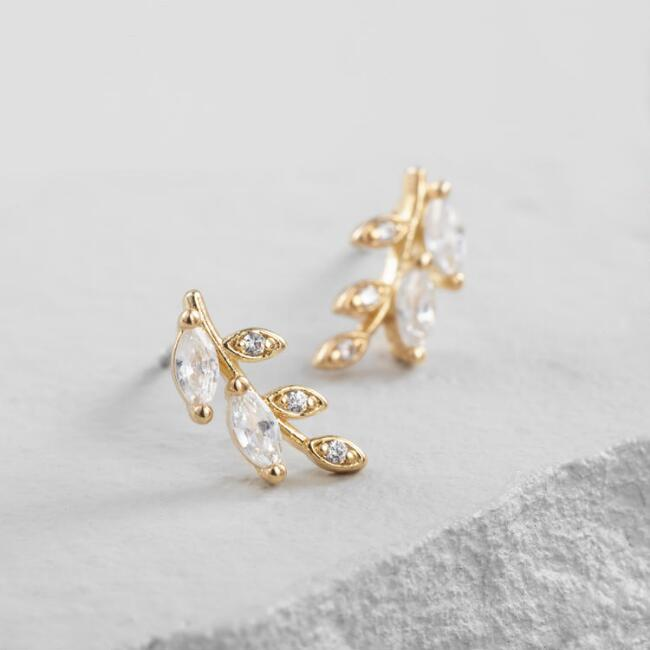 Small Gold Rhinestone Leaf Stud Earrings