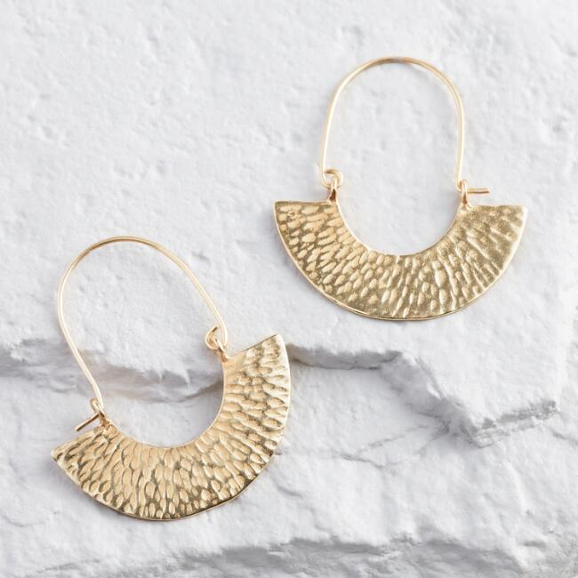 Gold Hammered Curve Hoop Earrings