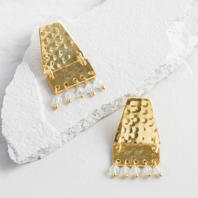 Gold Trapeze Hammered Two Tier Earrings