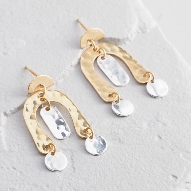 Silver And Gold Hammered Geometric Shapes Drop Earrings