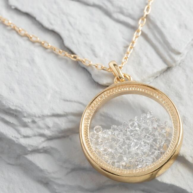 Round Gold And Rhinestone Pendant Necklace