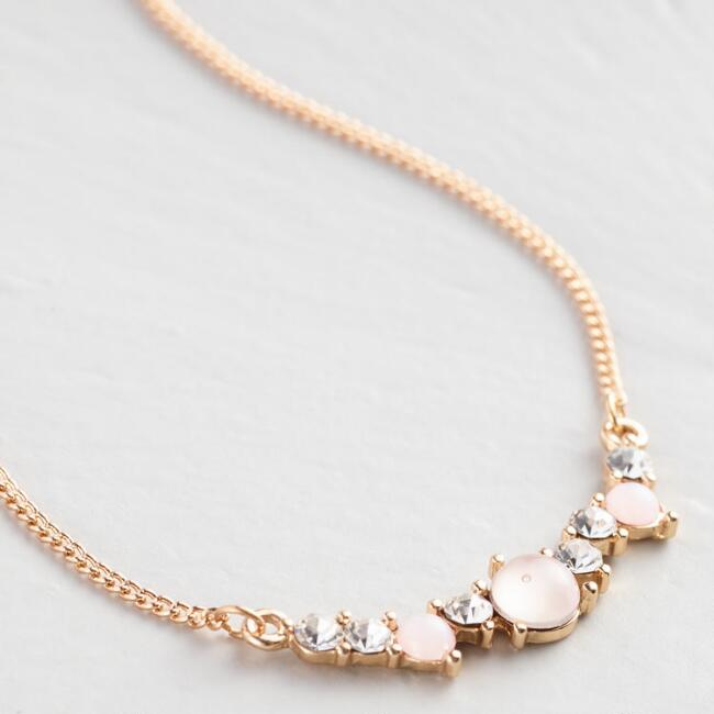 Gold Stones Curved Bar Pendant Necklace