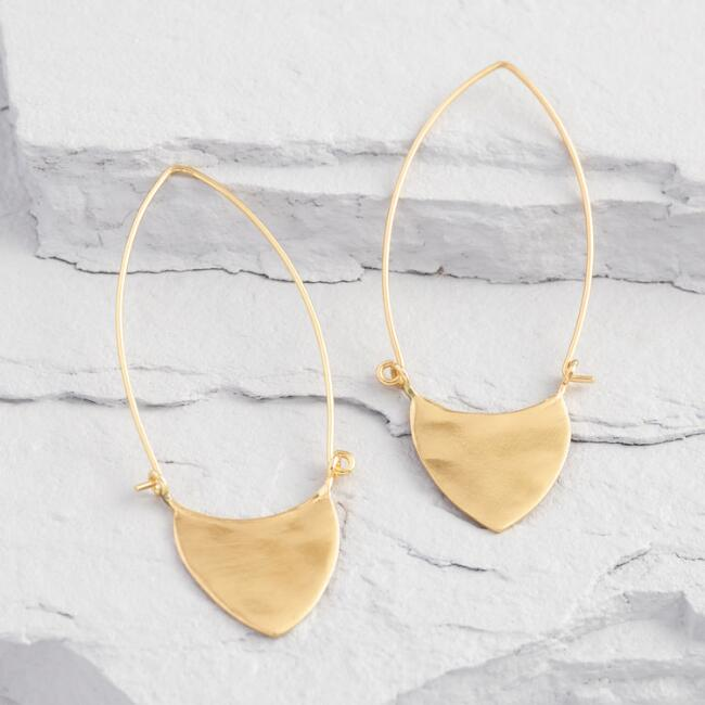 Gold Rounded Triangle Oval Hoop Earrings