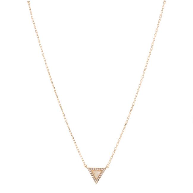 Gold And Rhinestone Opal Triangle Necklace