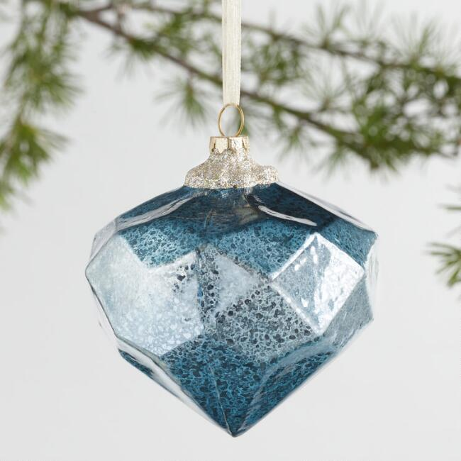 Glass Faceted Gem Ornaments Set of 3