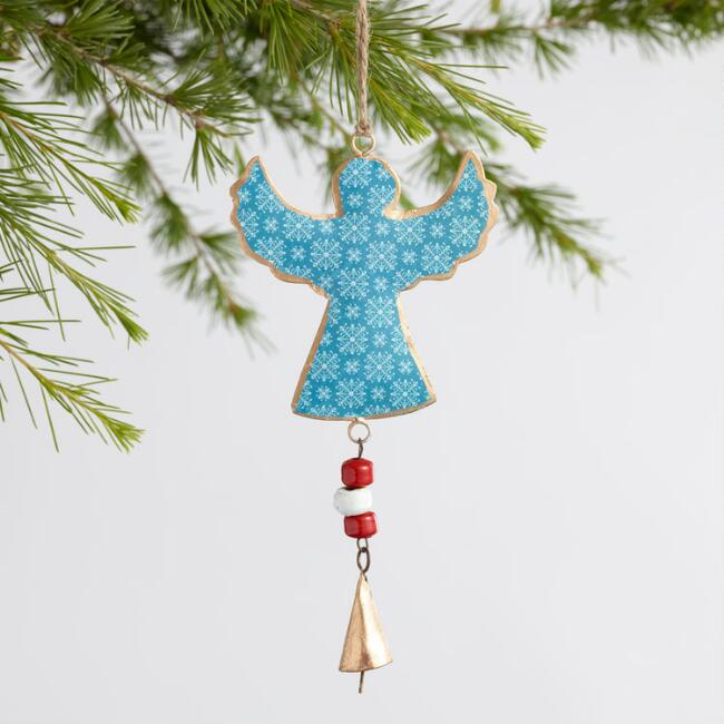 Metal Scandi Angel with Bell Ornaments Set of 3