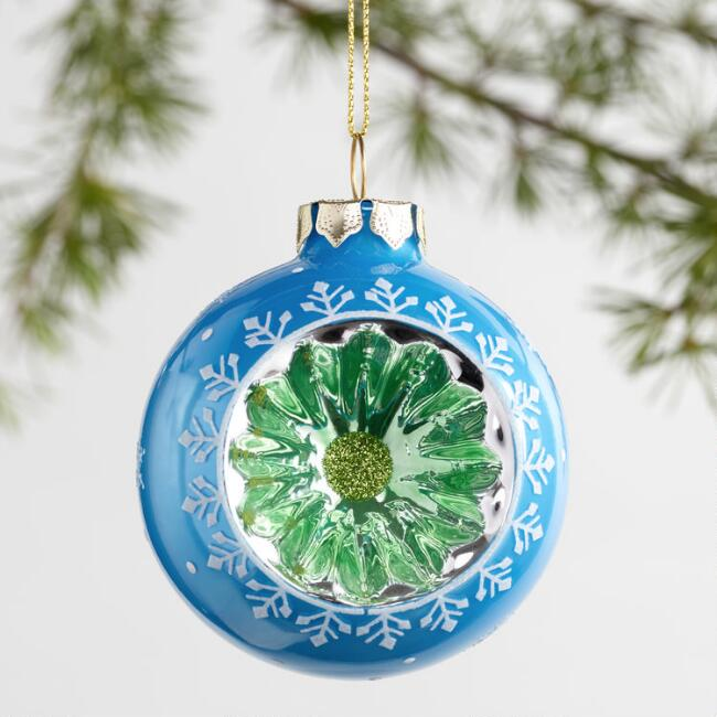 Retro Glass Reflector Ornaments Set of 3