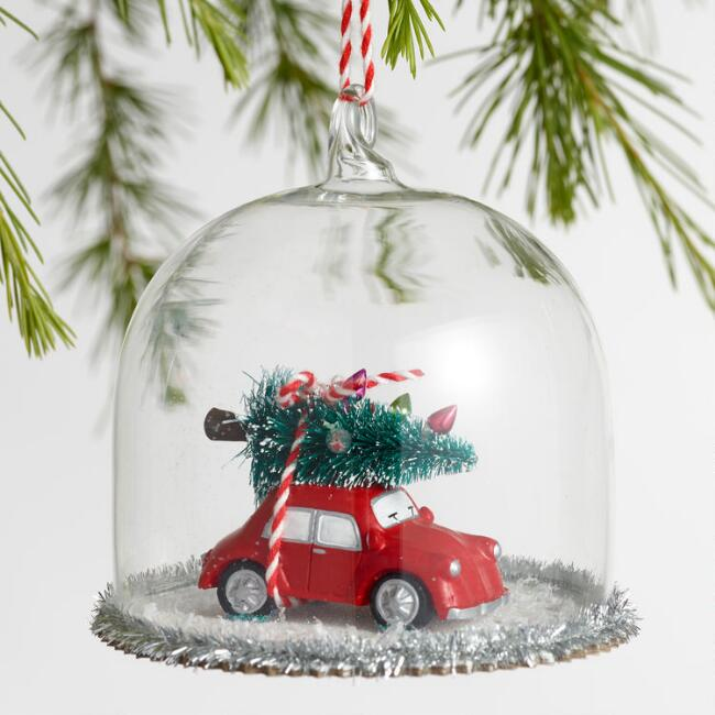 Retro Glass Cloche with Car Ornaments Set of 2
