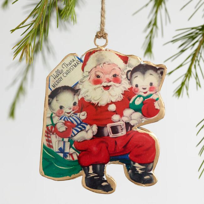 Retro Metal Greeting Card Santa Ornaments Set of 3