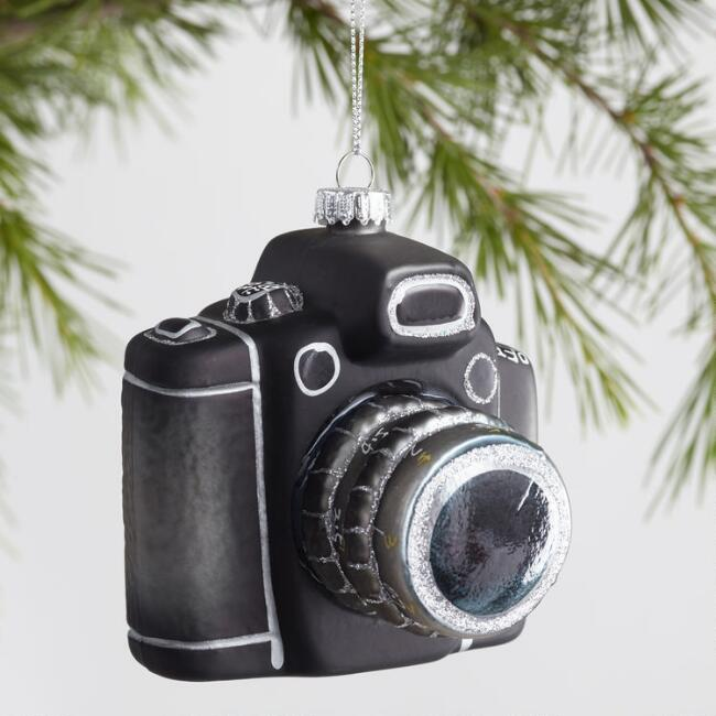 Glass Retro Camera Ornaments Set of 2