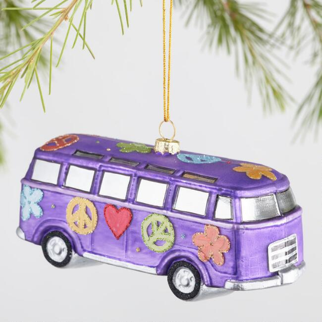 Glass Peace Sign And Flower Van Ornaments Set Of 2 World Market
