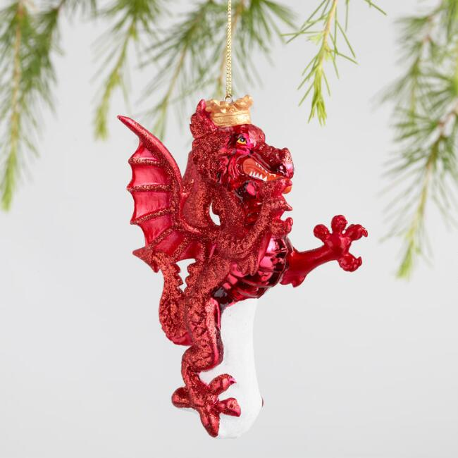Glass Dragon and Lion Ornaments Set of 2
