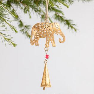 foiled metal elephant with bell ornaments set of 2 - Metal Christmas Ornaments