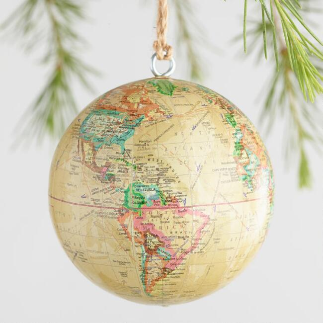 Paper Covered Globe Ornaments Set of 4