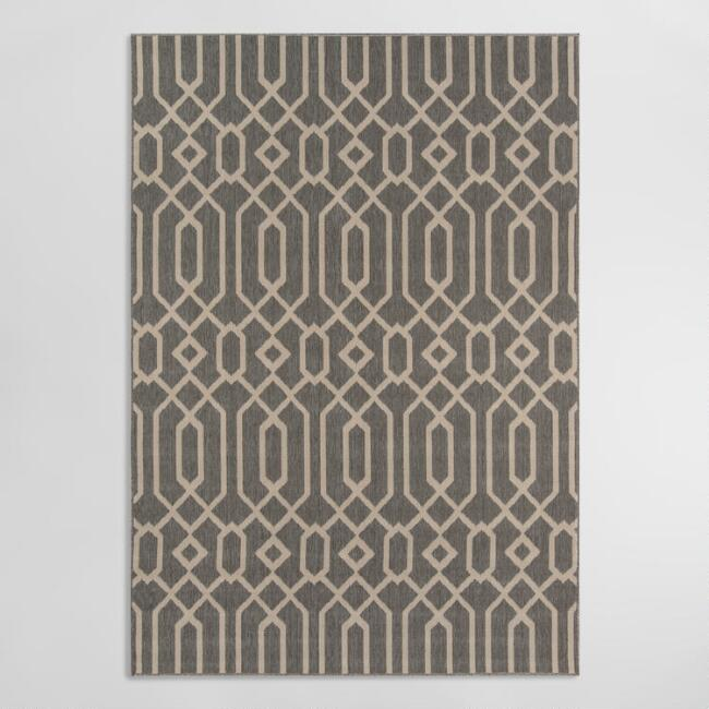 Gray Geometric Diamond Spiral Cortes Indoor Outdoor Rug