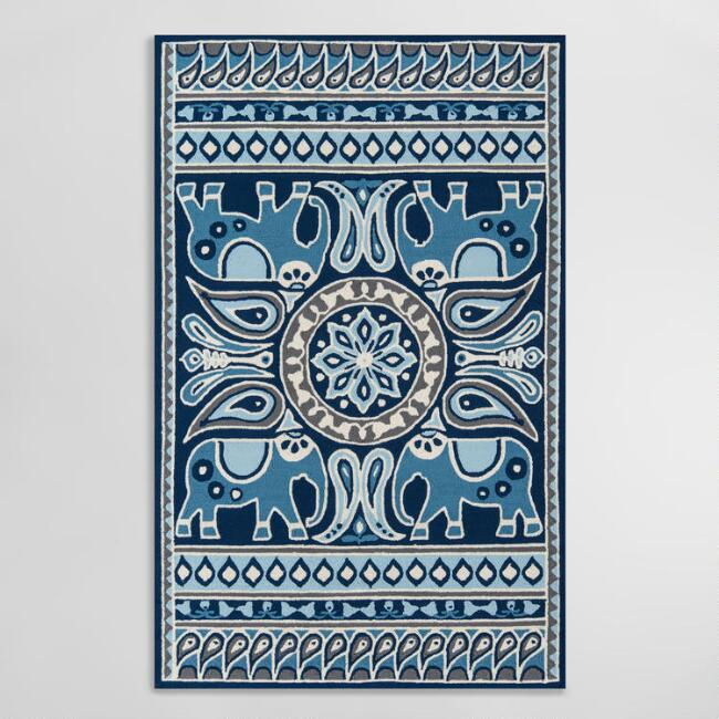 Indigo Blue Paisley Elephant Bohemian Indoor Outdoor Rug