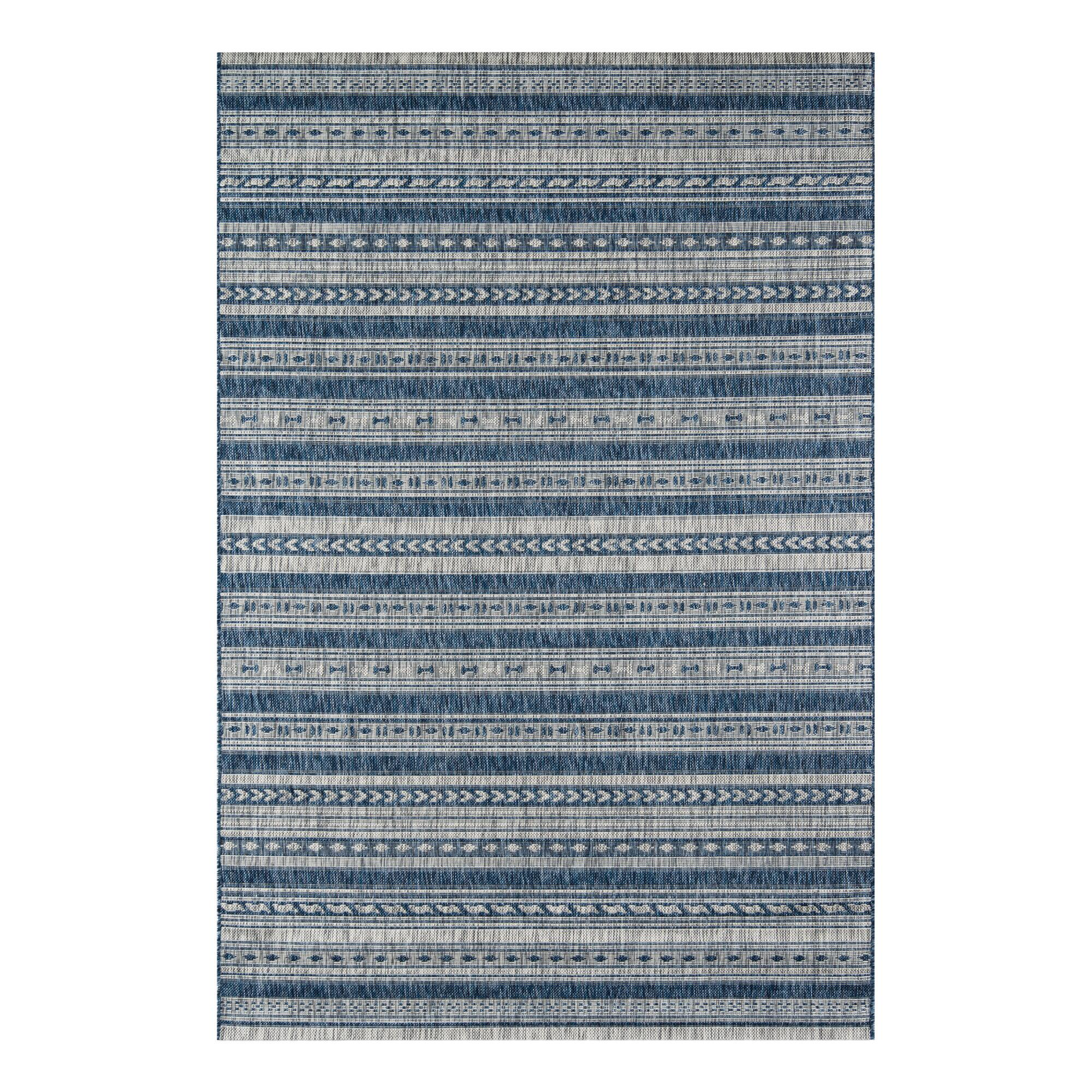 Blue And Ivory Geometric Stripe Lucca Indoor Outdoor Rug World Market