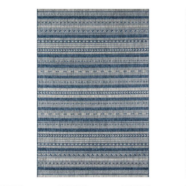 Blue and Ivory Geometric Stripe Lucca Indoor Outdoor Rug