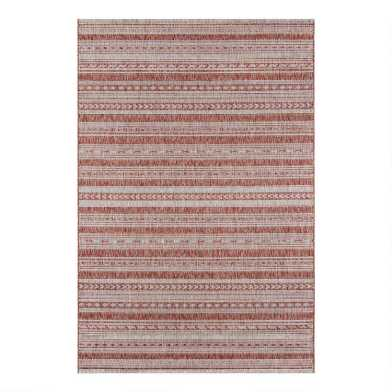 Copper and White Geometric Stripe Lucca Indoor Outdoor Rug