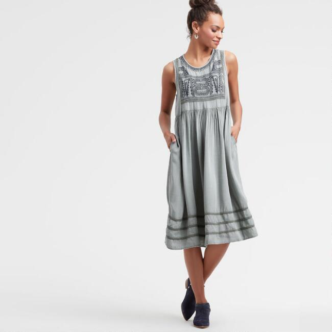 Gray Embroidered Janelle Dress with Pockets