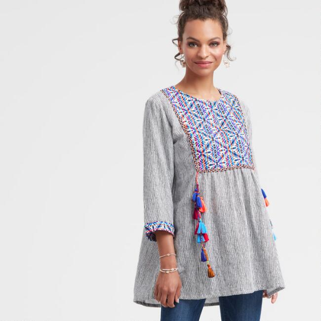 Embroidered Raylene Tunic Top