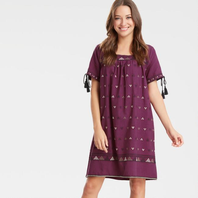 Burgundy Embroidered Milo Dress