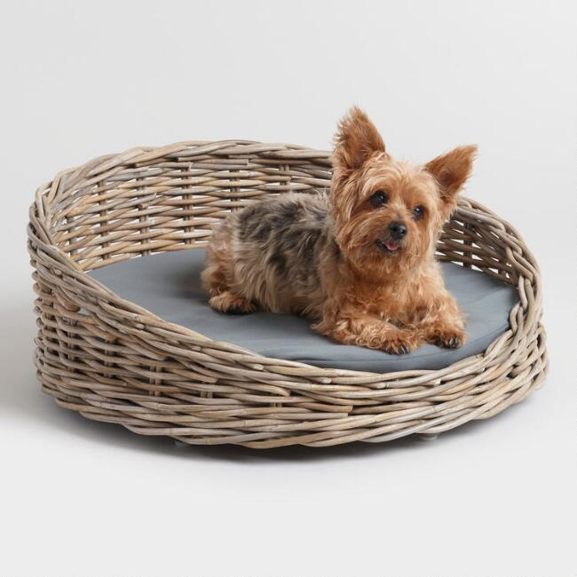 Round Gray Rattan Basket Baeli Pet Bed